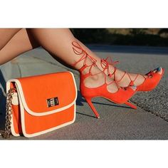 Dulce Candy - Orange lace heels and orange mini bag with white outline