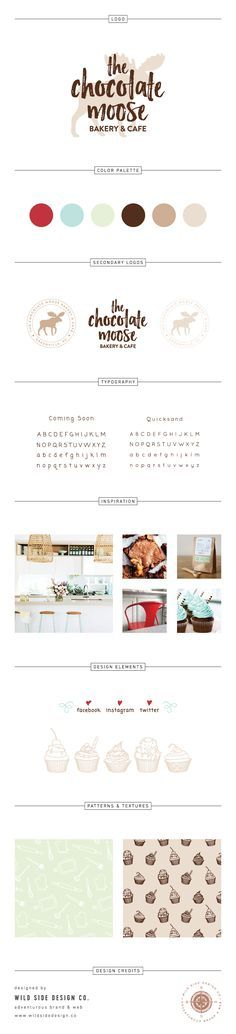 Brand Launch :: Brand Style Board :: Bakery & Cafe Branding :: The Chocolate Moose Brand Design :: #branding http://www.wildsidedesign.co