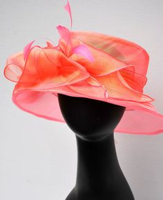 Candy pink Organza Hat Easter Hat Kentucky Derby Hat Church