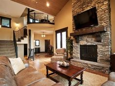 Fireplace & double back doors on same wall....sure hope the opposite side wall is full of windows.