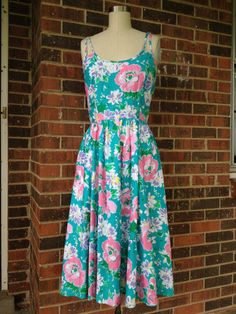 Teal Floral Rockabilly Dress by SallyMarieVintage on Etsy