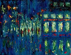 Where ART Lives Gallery Artists Group Blog: Abstract Palette Knife Blue Cityscape Art Rainy St...