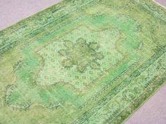 Vintage Oushak Handmade GRASS GREEN Color Overdyed RUG $375