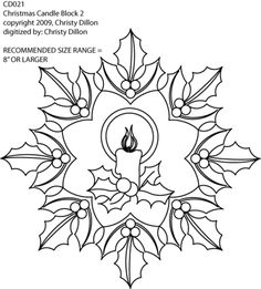 Christmas Candle with Holly Motif by Christy Dillon CD021 from Digi-Tech
