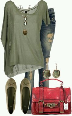 Love army green with the red purse