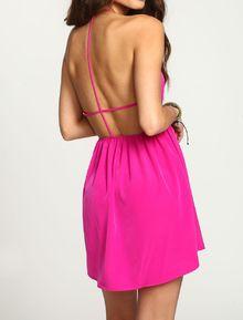 Rose Red Magenta Halter Open Back Dress