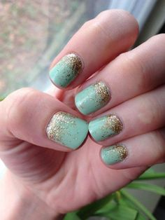 Mint And Gold Wedding Nails
