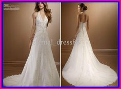 Wholesale Christmas New Style Sexy A Line Halter Chepel Train Beaded Applique Wedding Dress Bridal Gowns WG069, Free shipping, $150.0/Piece | DHgate Mobile