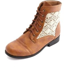 Crochet Lace-Up Ankle Combat Bootie  Charlotte Russe on Wanelo 2b25dc9fb