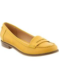 Women's Penny Loafers --> Old Navy.  Love this color.  I would pair this with the denim shirt dress from Gap instead of the oxfords.