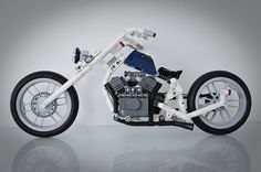 """""""Whose chopper is this?"""" Mind you this Blue Angel – Soft Tail Chopper isn't Zed's, it is lego_jonsson's…and he isn't dead like Zed. Lego Technic, Lego Mindstorms, Lego Design, Lego Motorbike, Motorcycle, Legos, Lego Plane, Lego Truck, Cool Lego Creations"""