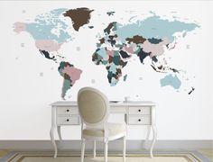 Décalque de carte mondiale. Décalque de mur de par decoratingwalls