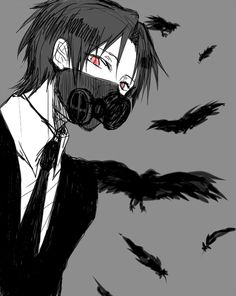 Black and white anime boy with black gas mask and black crows flying~