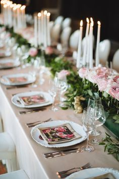 #Spring #WeddingIdeas #TaperCandle #Centerpiece #Blush #Green #White   Photographer - Mango Studios