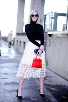 Senior Fashion News Director of @TeenVogue Jane Keltner de Valle wears the Tibi Sonoran eyelet skirt at Paris Fashion Week