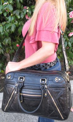 This Urban Expressions Hayden Black Vegan Satchel is the PERFECT crossbody bag for that weekend get-a-way you have planned! Also makes a great business satchel for everyday use!