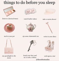 "𝐬𝐨𝐩𝐡𝐢𝐚  ✧*:・゚✧ on Instagram: ""𝙡𝙤𝙫𝙚𝙨 𝙮𝙤𝙪 ✧・゚:*✧・゚:* things to do before bed ✧・゚: *✧・゚:* 𝒏𝒐𝒕𝒆: I saw some of these in a text post and thought it was cute 🕯🦢☁️ sweet dreams…"" Classy Aesthetic, Angel Aesthetic, Aesthetic Fashion, Pink Aesthetic, Aesthetic Clothes, How To Be Aesthetic, Princess Aesthetic, Modern Princess, Vintage Princess"