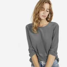 [ Everlane, The Silk Long-Sleeve Tee - $88 ] A silk long sleeve that's easy to dress up or down. The fabric is a washed crepe-de-chine that shows a subtle lustre on darker colors. The shirt features a button at the cuff. Relaxed fit. Fits at shoulder.  100% silk. Handwash.