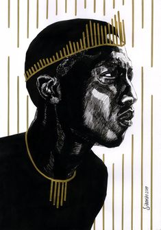 Sibambo Portraits | Fineliner Pen and Gold Ink Drawing Fineliner Pens, Gold Ink, Ballpoint Pen, How To Draw Hands, Portrait, Drawings, Headshot Photography, Hand Reference, Portrait Paintings