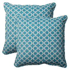 Outdoor 2-Piece Square Toss Pillow Set - Teal/White Geometric