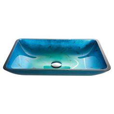 Kraus GVR-204-RE Irruption Blue Rectangular Glass Vessel Sink - GVR-204-RE, KRA707-1