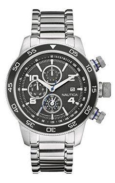 NAUTICA Armbanduhr NST 402 Chrono Black and Steel A24533G - http://uhr.haus/nautica/nautica-armbanduhr-nst-402-chrono-black-and-steel