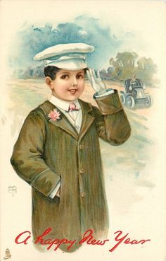 Full Sized Image Boy Saluting Motor Car With Driver Behind