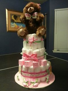 Pink and Green diaper cake