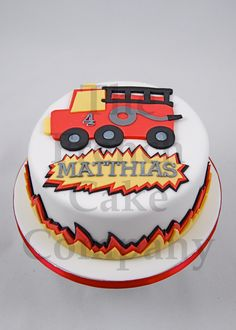 Cake for boys - Gateau D'anniversaire pour Enfants Garcon Truck - Verjaardagstaart Fireman Cake, Best Cake Ever, Cakes For Boys, Cake Designs, Birthday Cake, Desserts, Food, Firefighters, Invitations