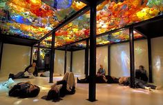 Blown glass ceiling installations by Dale Chihuly