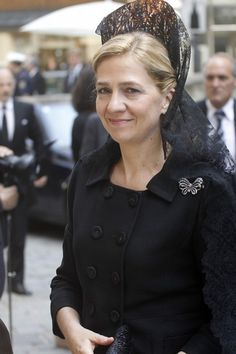 Princess Cristina of Spain wearing a traditional mantilla
