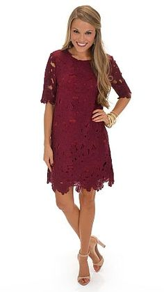 Simply Stunning Dress, Wine :: NEW ARRIVALS :: The Blue Door Boutique