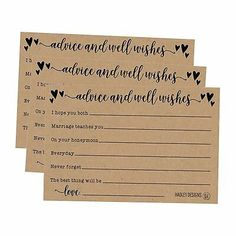 50 4x6 Floral Wedding Advice /& Well Wishes For The Bride and Groom Cards Rec...