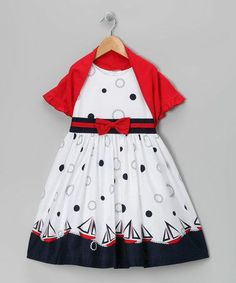 White Sailboat Dress & Red Shrug - Toddler & Girls by Jayne Copeland on #zulily #baby #babies #clothes #clothing #infant #toddler #girl #girls #dress #outfit #christmas #winter #holiday #church #picture #portrait #family #photo #photography #card #cards #pageant #wedding #flowergirl #flower #nautical #beach #boat #maritime #yacht #sailor #sailing #sailboat #red #navy #white #blue #bolero #shrug #outfit #set #vacation