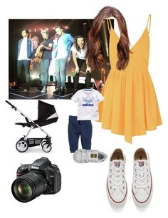 """""""Taking photo of the show of One Direction """" by emma-horan-73 on Polyvore featuring Glamorous, Converse, Mamas & Papas, H&M, adidas, adidas Originals, Nikon, women's clothing, women and female"""