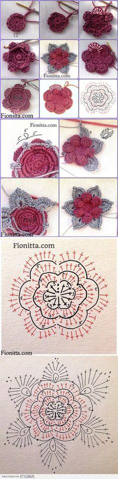 DIY 3D Crochet Rose in 3 Ways | www.FabArtDIY.com