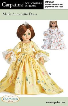 "Amazon.com: Pattern for Marie Antoinette Dress - fits 18"" American Girl Dolls: Toys & Games"