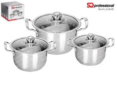 """3pc CASSEROLE SET """"QUARTZ"""" - SQ Professional brings you its brand new flagship 'Gems' range of cookware. This sets sparkles with the brilliance of the gemstones after which it is named. Made from high quality stainless steel, they come complete with vented, tempered glass lids. You can be certain that a set from the Gems range will be the talking point in any kitchen. Dimensions: 10.0L - ø28cm x 18cm 