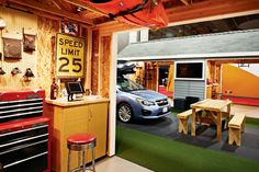Pinnacle Exhibits created a garage concept for outdoor retailer Yakima, showing off the products in a casual, inviting setting at the 2012 O... Photo: Courtesy of Sparks