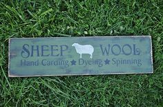 "20"" Primitive Wood Sign Sheep Wool Sage Over Lamp Black Rustic Home Decor"