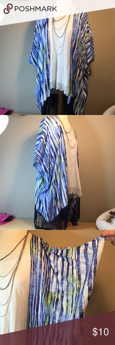 👄Charming Charlie blue striped fringe kimono Gorgeous all rayon striped kimono open front cover all. Navy blue fringe, royal and light blue plus lime green on s white background. Purchased new from charming Charlie. Machine wash.  Will fit large through 2x probably. Very roomy Smoke and cat free home. Shown With white tank top and silver necklace that are not included. I have a pair of NEW Born sandals that would match the green in this size 10. Charming Charlie Jackets & Coats
