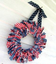 Americana plaid 12 inch fabric Rag Wreath red white and blue   RagWreath - Housewares on ArtFire