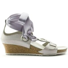 f7ab57fab7d7 Details about New PAPILLIO by BIRKENSTOCK Emmy Ribbon Wedge Sandal Gray 39 8