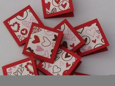 Red Hearts Valentine's Day Love Notes Mini by AlwaysPrettyPaper, $2.75