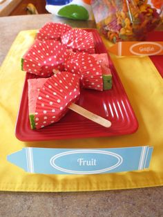 I love this idea for eating watermelon.  It is sure to be a little cleaner, let's be honest, anything on a stick is just that much better.