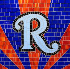 Mosaic Letter R - The Tieton Alphabet  Tieton Mosaic is a mosaic sign company in Tieton, WA specializing in typographic glass mosaic signage