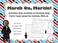 """March On, Martin!"" freebies from 3rd Grade Gridiron (read aloud suggestion, reading comprehension activity, and writing paper)"