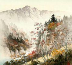 Koukei Kojima - Artist from Japan Japanese Painting, Chinese Painting, Chinese Art, Chinese Brush, Japanese Prints, Japanese Art, Art Occidental, Japanese Landscape, Art Day