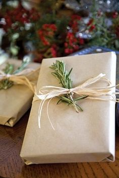 brown paper, raffia, and rosemary