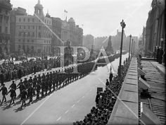A seemingly endless line of marching men stretches along O'Connell History Photos, Photo Archive, More Photos, Dublin, Past, Sunday, Military, Fine Art, Street